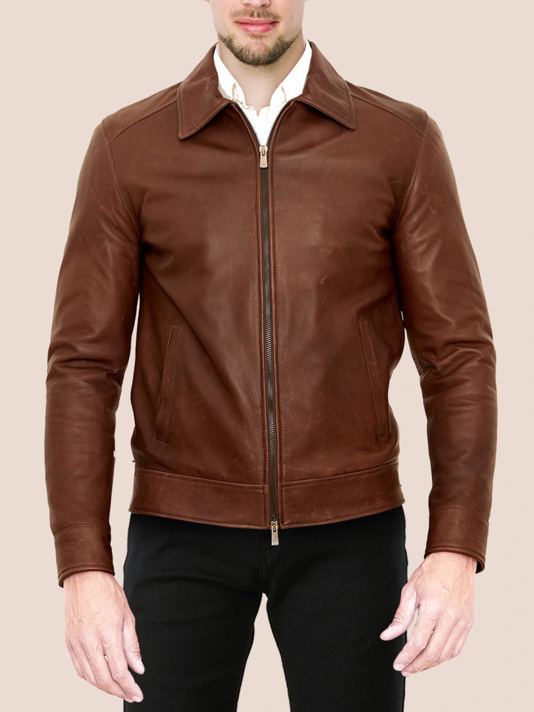 Dark Brown Classic Leather Jacket For Men - Samish Leather