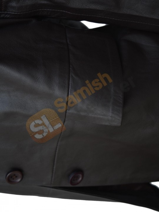 womans dark brown high quality leather coat