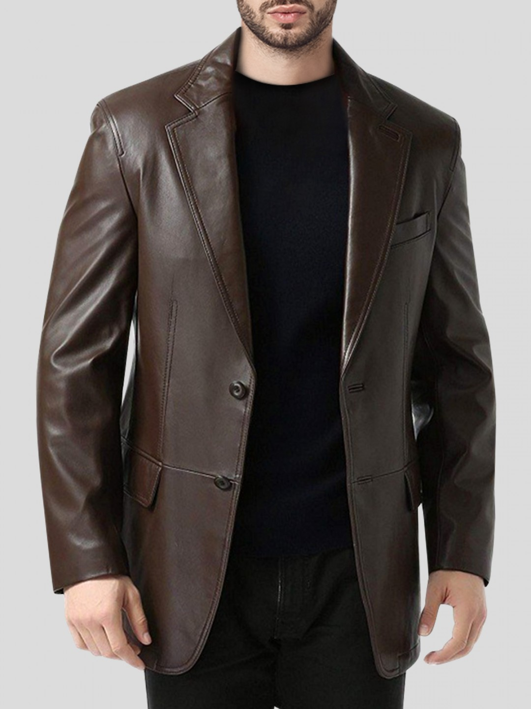 Mens Single Breasted Brown Leather Blazer Coat - Samish Leather