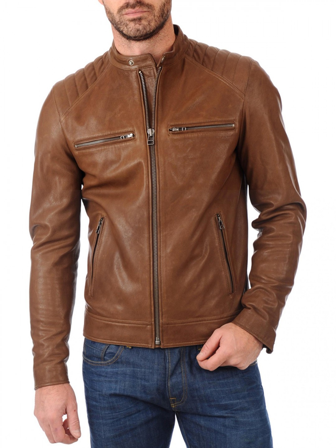 Classic Mens Brown Biker Real Leather Jacket - Samish Leather