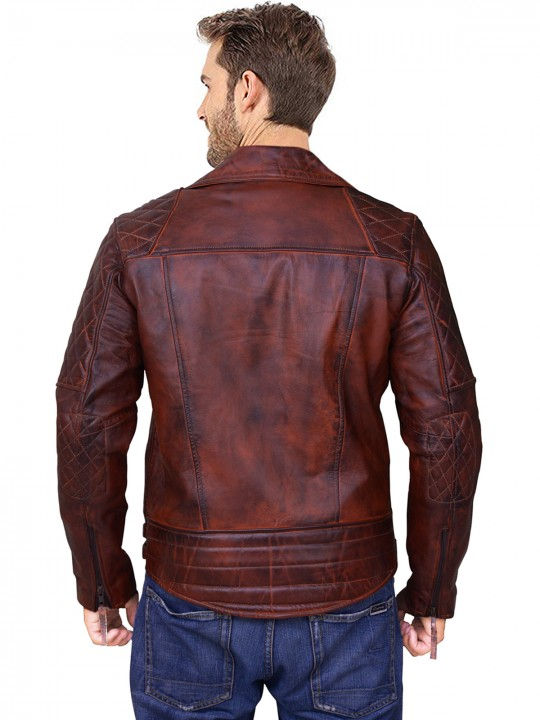 classic rustic biker quilted leather jacket