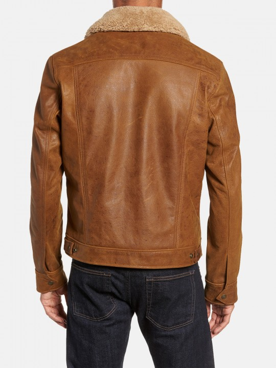 Men's Brown Leather Trucker Jacket with Sheepskin Collar - Samish Leather