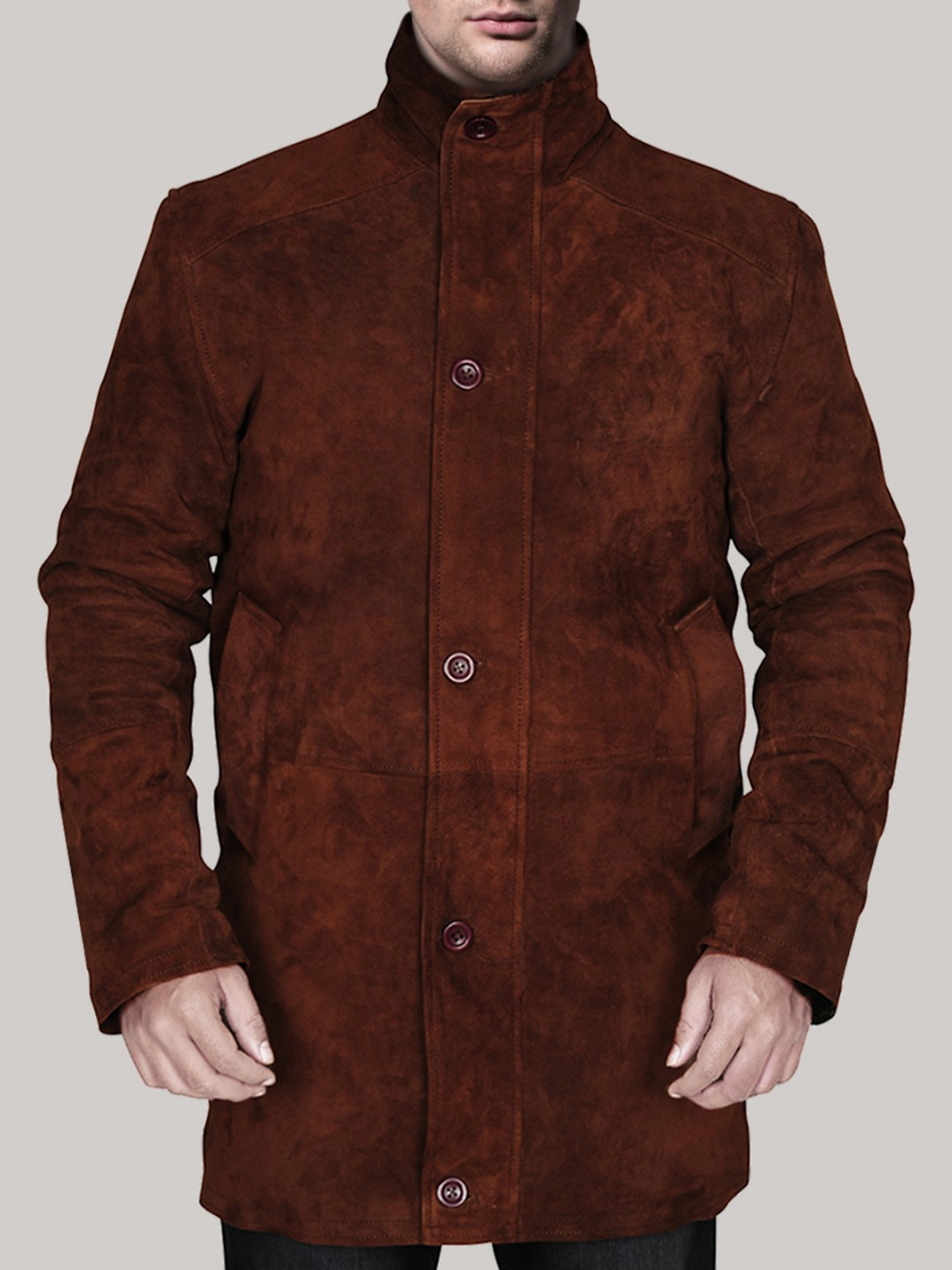 Men?s Brown Suede Leather Coat - Samish Leather