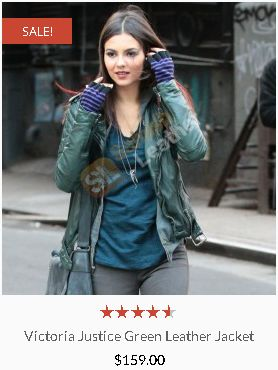 Victoria Justice Green Leather Jacket