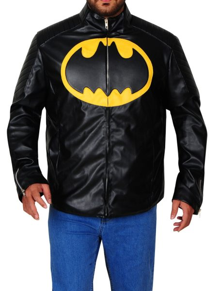 The Lego Batman Yellow Padded Logo Leather Jacket