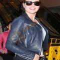 Kate Upton Blue leather Jacket