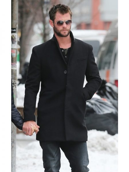 Australian Actor Chris Hemsworth Trench Wool Blend Coat