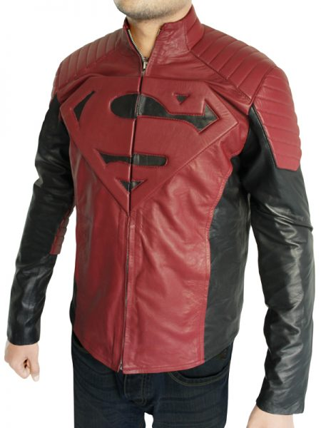 black & maroon superman leather jacket