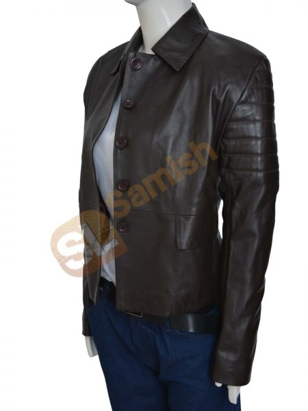 Graceful Design Woman's Dark Brown High Quality Leather Coat