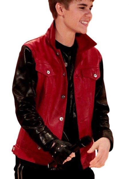 Justin Bieber Stylish Black Sleeves Red Jacket