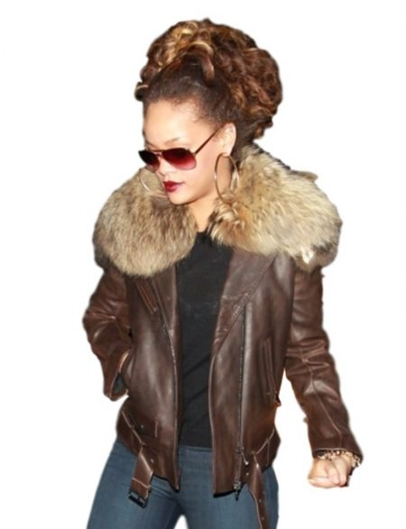 Rihanna Brown Fur Collar Jacket