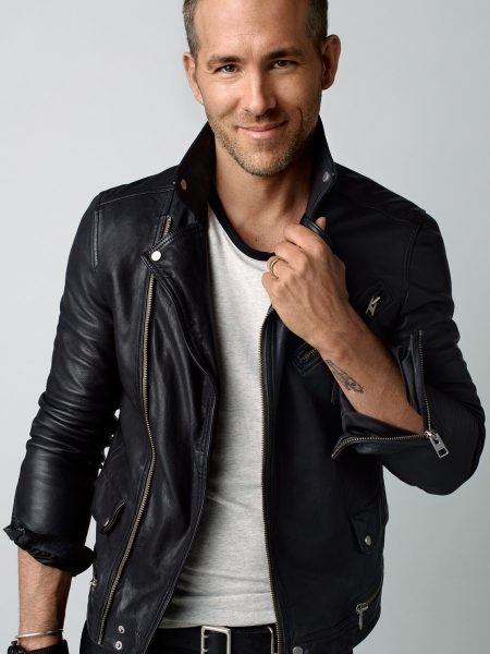 Mens Motorbiker Ryan Reynolds leather Jacket