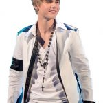 Singer Justin Bieber White leather Jacket