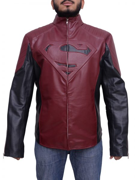 Man Of Steel Superman Maroon and black Jacket