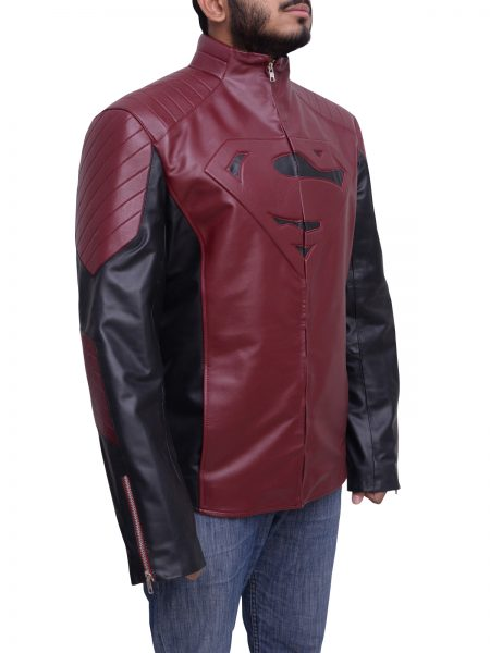 Man Of Steel Superman Maroon and black sleves Jacket