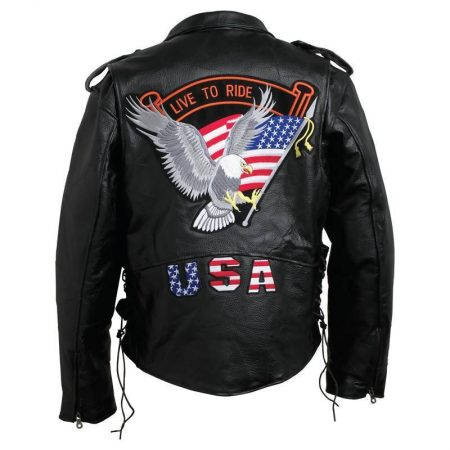 Rock Eagle Flag Leather Jacket