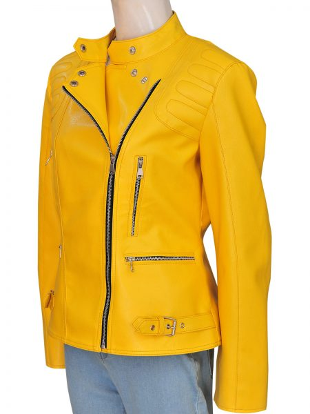 Hilary Duff Yellow Leather Jacket