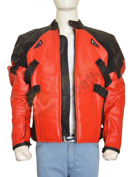 Deadpool Costume Red And Black Biker leather Jacket