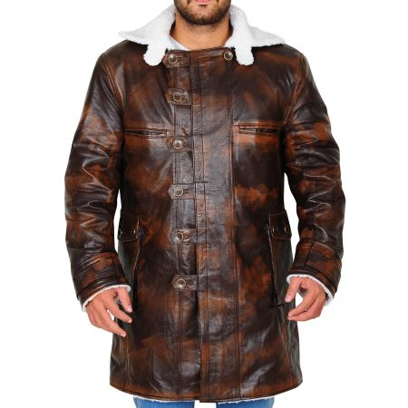 The Dark Knight Rises Bane Brown Distressed Leather Coat