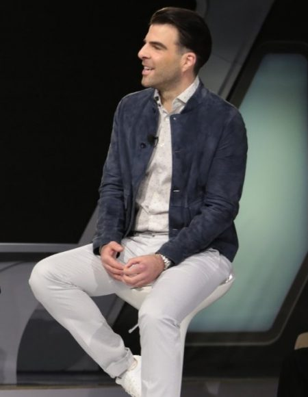 Actor Zachary Quinto Star Trek Beyond Commander Spock Blue Jacket