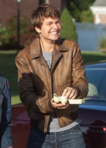 The Fault in Our Stars Ansel Elgort Brown leather Jacket