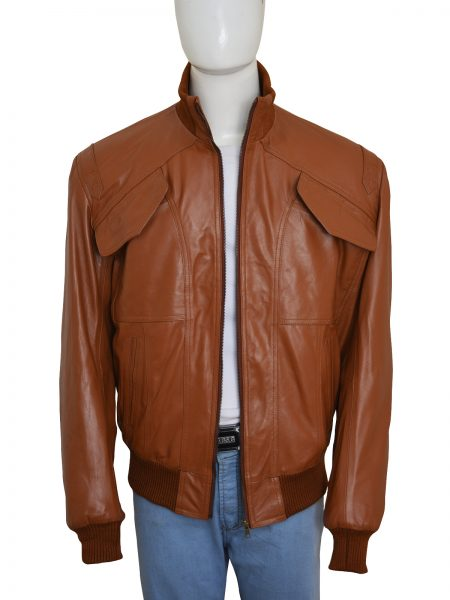 Slim Fit Bomber Style 4 Pockets Brown Leather Jacket