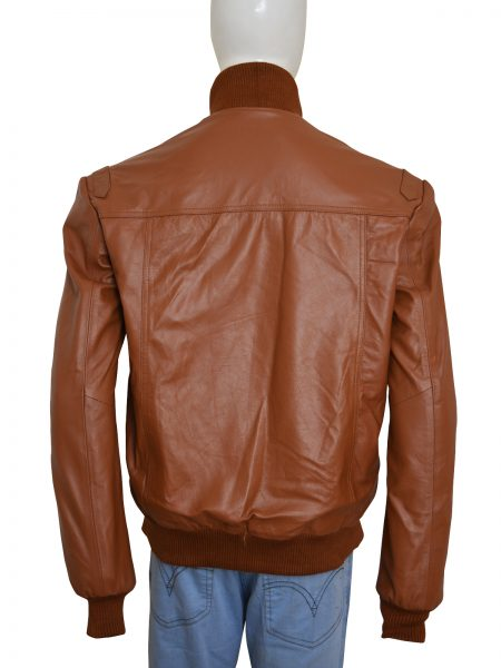 Purchase Slim Fit Bomber Style 4 Pockets Brown Leather Jacket