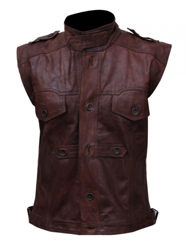Buy Classic Design Chocolate Brown Leather Vest