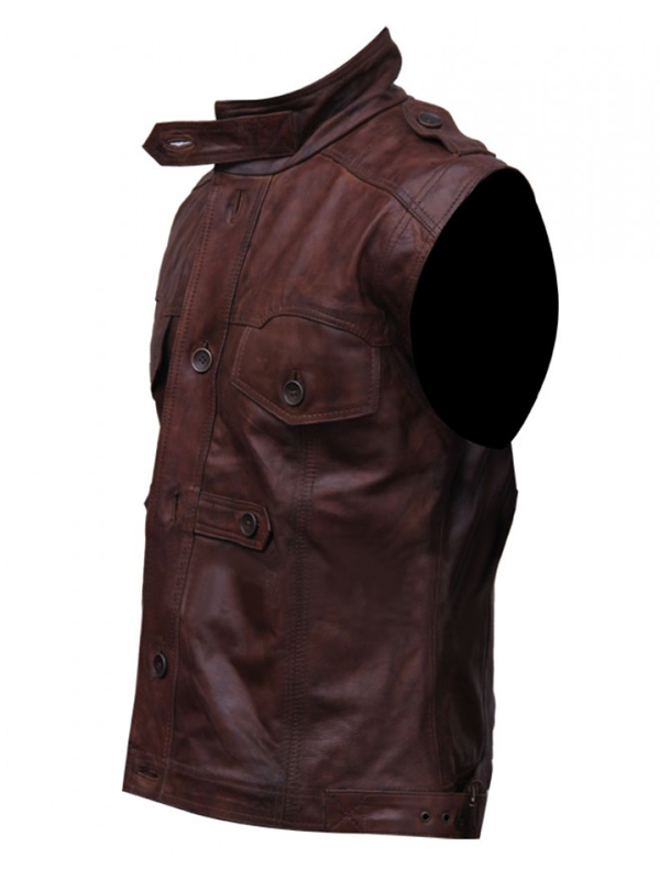 Mens Chocolate Brown Distressed  Leather Vest