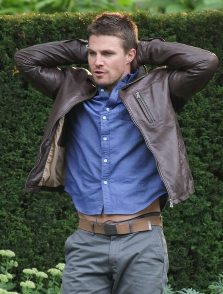 Arrow Series Stephen Amell Stylish Brown leather Jacket