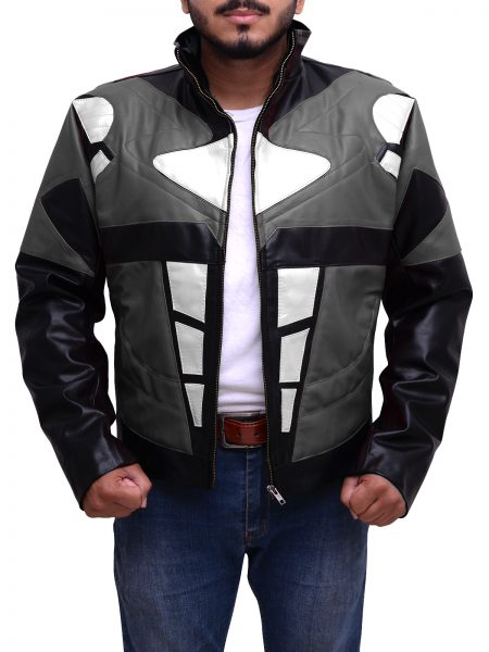 Power Rangers Mens Superhero Costume Mighty Grey Leather Jacket