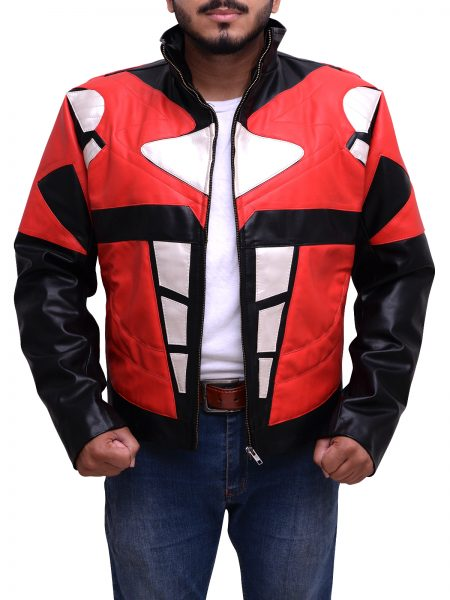 Power Rangers Mens Superhero Costume Mighty Red Leather Jacket