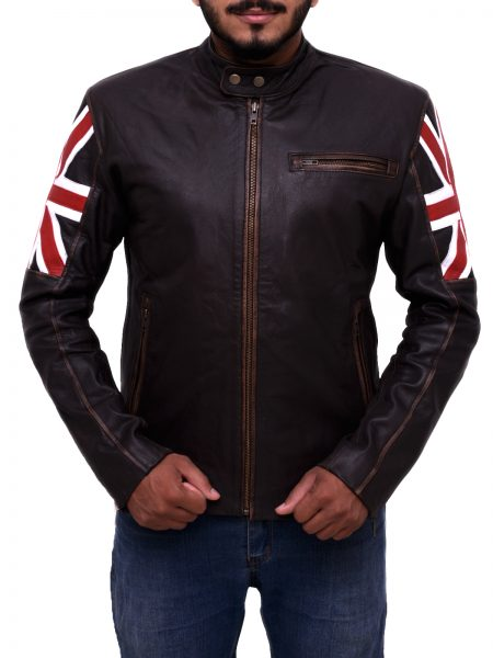 Mens Biker Vintage Motorcycle Brown Cafe Racer Leather Jacket with UK Flag