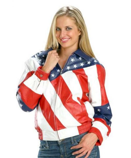 Womens Biker US Flag Jacket