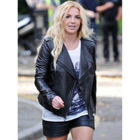 Britney Spears Black Leather Quilted Jacket