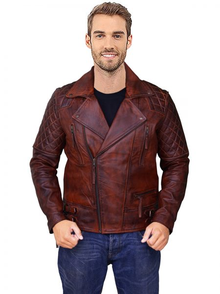 Rustic Vintage Motorcycle leather Jacket