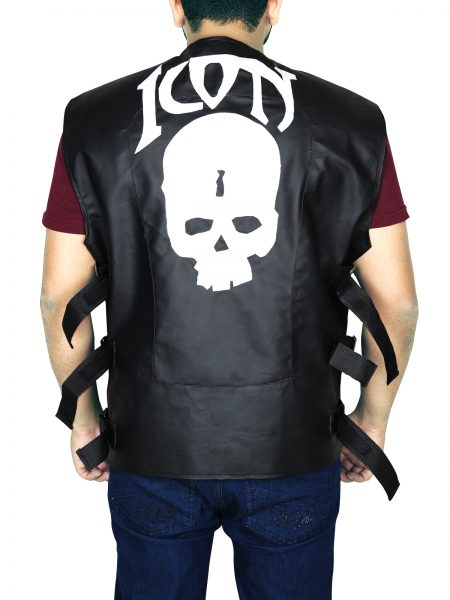 Men Classic Skull Icon Leather Vest