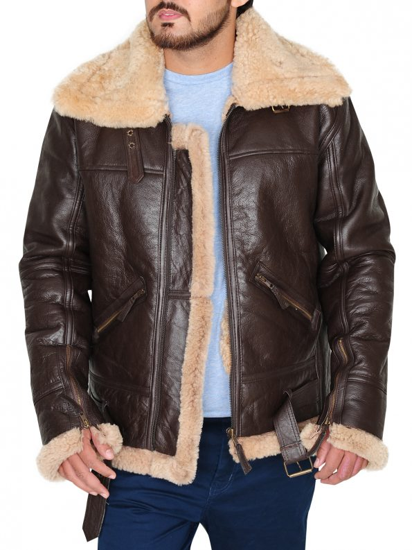 Men's RAF B3 Brown Real Shearling Real Sheepskin Leather Bomber Jacket (1)