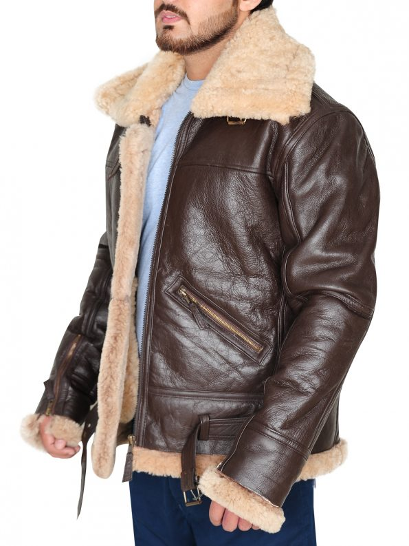 Men's RAF B3 Brown Real Shearling Real Sheepskin Leather Bomber Jacket (2)