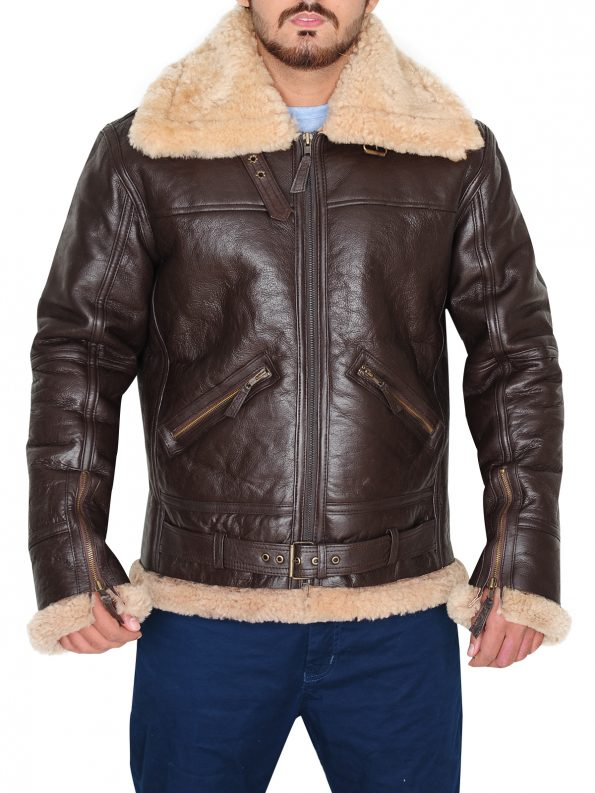 Men's RAF B3 Brown Real Shearling Real Sheepskin Leather Bomber Jacket