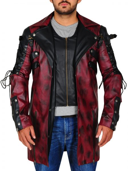 Punk Rave Poison Goth Steampunk Maroon leather Coat