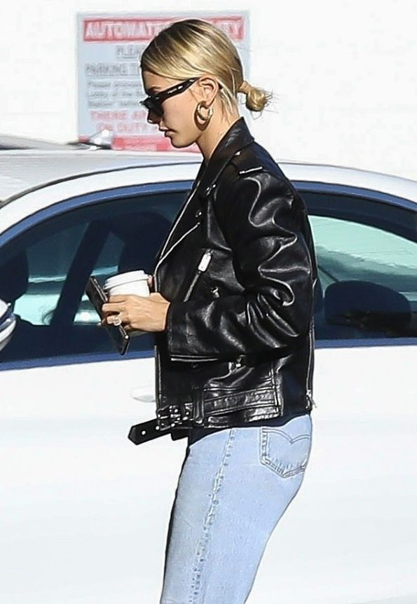 Hailey Bieber black leather jacket
