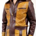Two Tone Biker Motorcycle Leather Jacket For Men's