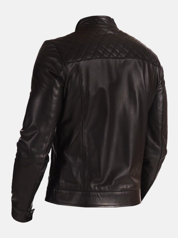 Black Stand Collar Leather Jacket For Biker Men back