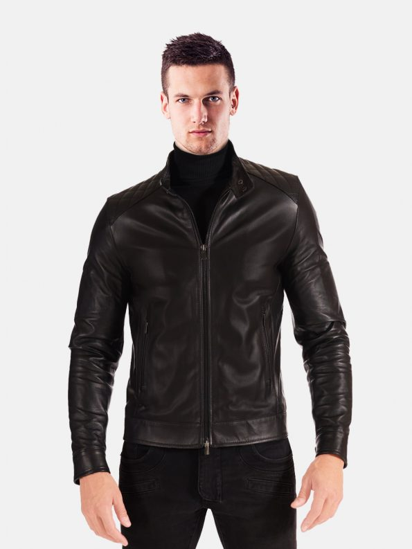 Black Stand Collar Leather Jacket For Biker Men front