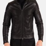 Black Stand Collar Leather Jacket For Biker Men zoom