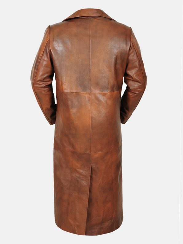 Stylish trench leather coat For Men Back