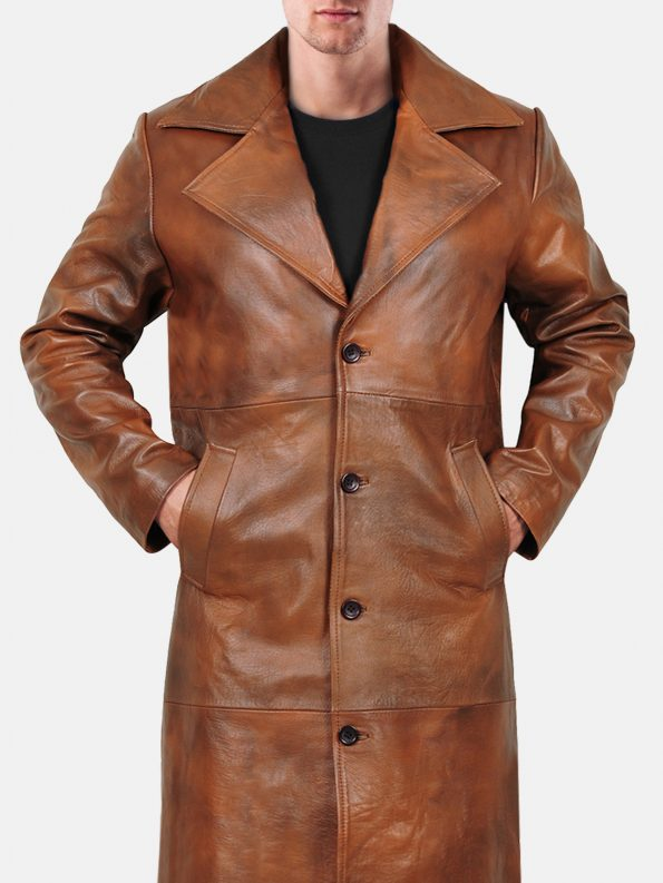 Stylish trench leather coat For Men Featured