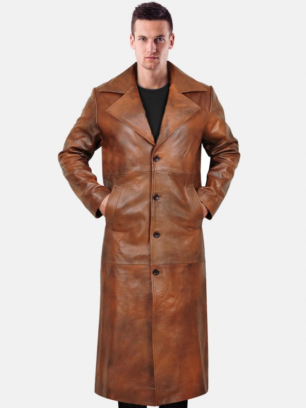 Stylish trench leather coat For Men Front