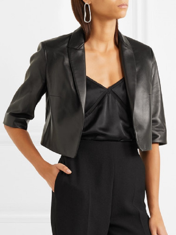 Women's Black Real Leather Coat In The Good Fight